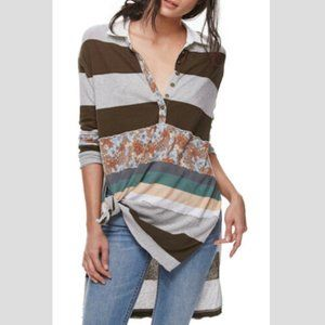 FREE PEOPLE Eloise Striped Tunic Top in Moss - M